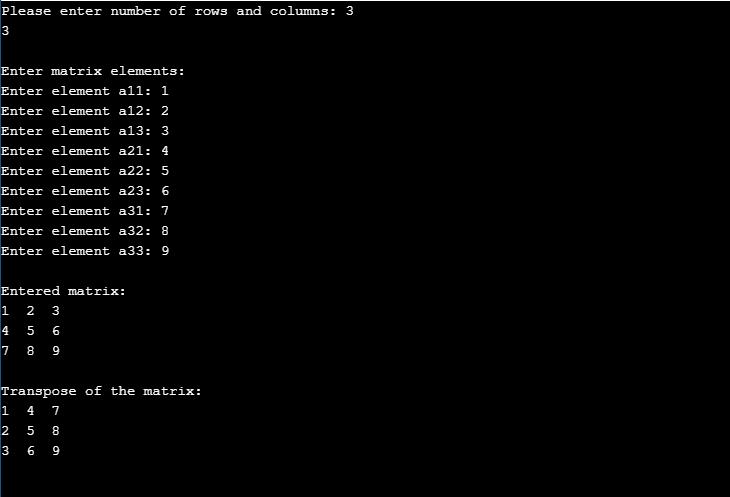 C Program to Find Transpose of a Matrix